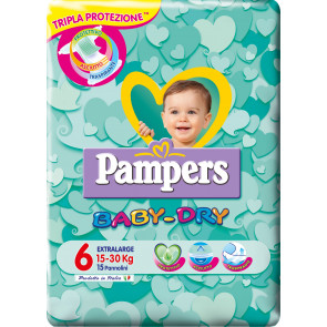Baby Dry Taglia 6 Extralarge Pampers 15 pezzi