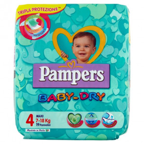 Baby Dry Taglia 4 Maxi Pampers 19 pezzi